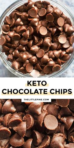 Your low carb desserts need these keto sugar free chocolate chips! Add them to your favorite cookies + brownies for a REAL treat! #sugarfreechocolatechips #ketochocolatechips #chocolatechips #ketochocolate #lowcarbchocolate #keto #lowcarb Diet Desserts, Sugar Free Desserts, Diet Snacks, Low Carb Desserts, Diet Recipes, Dessert Recipes, Healthy Recipes, Keto Chocolate Recipe, White Chocolate Recipes