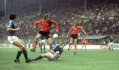 Holland 0 Sweden 0 in 1974 in Dortmund. Piet Keizer is tackled on the edge of the box in Group 3 at the World Cup Finals.