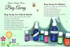 Natural bug spray using Young Living Essential Oils; substitute in Epsom Salt for Sea Salt and Witch Hazel for half of the water