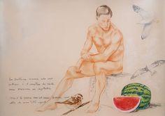 la mangio (Pittura),  70x50 cm da paolo archilei pastello su cartoncino