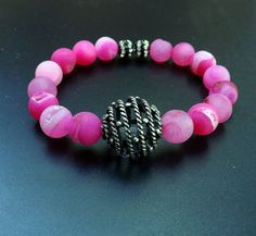 Hey, I found this really awesome Etsy listing at https://www.etsy.com/listing/202818960/hot-pink-bracelet-druzy-agate-bracelet