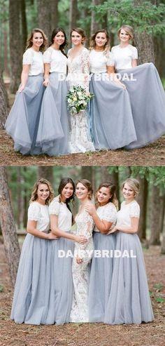 Long A-Line Tulle Bridesmaid Dress, Cheap Short Sleeve Bridesmaid Dress, D946 #dairybridal #bridesmaiddress