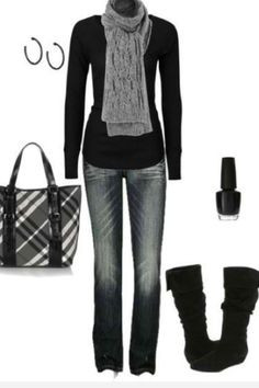 Winter casual- minus the bag, earrings and polish