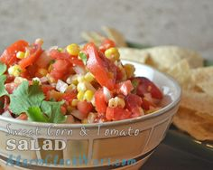Looking for an easy side dish, chock full of fresh veggies? Try this Sweet Corn Tomato Salad.