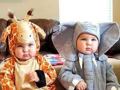 Zsiráf és Elefánt, farsangi jelmez ikreknek,  costumes for Twins