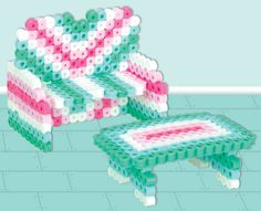Make fun dollhouse furniture with Perler Beads! This project includes a sofa and matching coffee table.