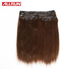 Remy Clip In Human Hair Extensions 2# Color Peruvian Human Hair Clip In Extensions African American Clip In Human Hair Extension