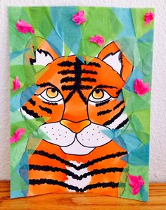 Kathy's AngelNik Designs & Art Project Ideas: Tiger in The Jungle Inspired By He. - Kathy's AngelNik Designs & Art Project Ideas: Tiger in The Jungle Inspired By Henri Rousseau - Jungle Art Projects, Animal Art Projects, School Art Projects, Henri Rousseau, Tiger Crafts, 2nd Grade Art, Tiger Art, Art Lessons Elementary, Elementary Art Rooms