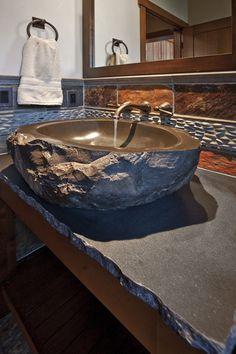 Cabin bath idea natural looking really unique