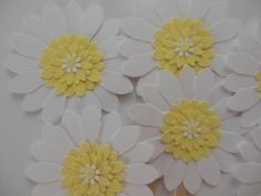 Flower Cupcake Toppers - Yellow and White Daisies - Birthday Parties-Showers-Weddings on Etsy, $3.25