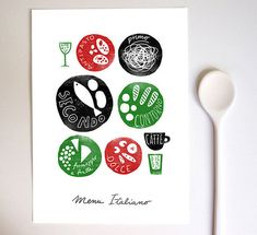 I'm trying to teach myself the proper Italian menu or Italian meal structure. After hosting a six course wedding dinner last year, and starting to have people Italian Menu, Italian Recipes, Italian Dishes, Kitchen Prints, Kitchen Art, Kitchen Interior, Logo Food, Menu Design, Food Design