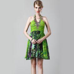 Printing Style Shiny Beads High Waist Bare Back Chiffon Dress