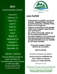 2014 Friends of FDR Meeting Schedule