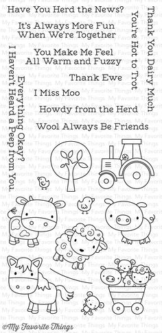 My Favorite Things - Farm Friends Clear Stamp Set - CS-178 (Pre-order Only)