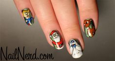 Rudolph the red nosed reindeer nail art