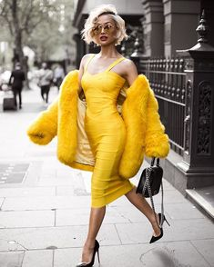 Hello yellow Dress from @toxicenvy_boutique [coat is faux fur] ✨ Micah Gianneli