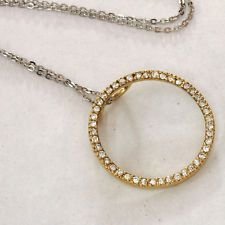 Sterling silver 925 gold plated circle with CZ and sterling silver ch... Lot 370