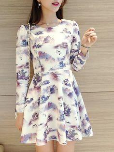 Fashion Print Long Sleeve Dress_Long Sleeve Dress_DRESSES_Wholesale clothing…