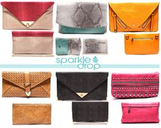 Be the best dressed, it's all in the details: A gorgeous clutch is the perfect fit! Clutches make an impression with the perfect pop of color and embellishments. Who would like to see handbags added to the Sparkle Drop collection?  www.sparkledrop.com