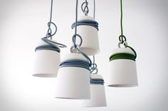 Nice rope detail on these Patrick Hartog Ceramic Cable Lights, perfect if you aren't sure what height you want to trim your pendants, or for a cluster hung at different heights.