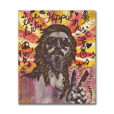 1970s Hippie Art - I Love Dirty Hippie Music