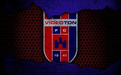 Download wallpapers Videoton, 4k, logo, NB I, Hungarian Liga, soccer, football club, Hungary, grunge, metal texture, Videoton FC