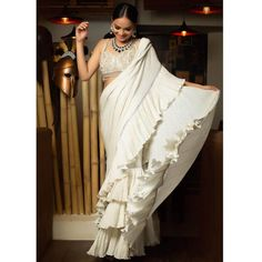 Trending: Ruffled Saree Ideas for Weddings 2019 - ShaadiWish Latest Saree Trends, Latest Sarees, Bollywood Saree, Bollywood Fashion, Shiffon Saree, Sarees For Girls, Bridal Wardrobe, Simple Sarees, Stylish Sarees