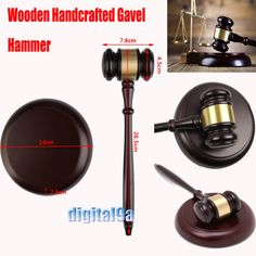 *Vktech Wooden Handcrafted Wood Gavel Sound Block for Lawyer Judge Auction Sale