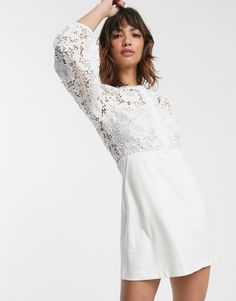 Shop French Connection round neck button down lace mini dress in summer white at ASOS. Asos, French Connection Style, Safari, White Mini Dress, Crochet Lace, World Of Fashion, Button Downs, Fashion Dresses, Dress Up