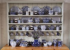 Blue and white china on a dresser in the Burleigh Pottery Factory Shop… Blue And White China, Blue China, Delft, Chinoiserie, House In The Clouds, Dish Display, China Display, Kitchen Dresser, White Dishes