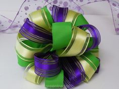 Yellow Green Purple Bow Mothers Day Gift Bow by greentraderllc,