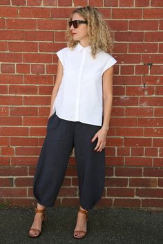 Meet our newest pattern – the Demi Pant! This pull-on, cropped pant pattern features an elasticised waist and full leg with side stitched down pockets. A clever pleat detail at the front and back hemline is finished with a bias bind...