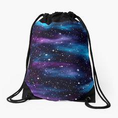 'Starry Celestial Galaxy Pink & Blue Space Nebula' Drawstring Bag by CyanSkyDesign Purple Teal, Purple Bags, Yellow, Space Artwork, Pink Galaxy, Blue Space, Galaxy Print, Cool Backpacks