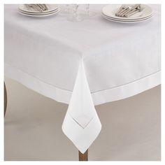 0d888865c43 White Classic Hemstitch Border Design Tablecloth (72) - Saro Lifestyle