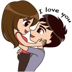 Cute, funny, lovely couple sticker for those who in love Cute Love Pictures, Love You Images, Cute Cartoon Pictures, Cute Love Gif, Love Cartoon Couple, Cute Love Cartoons, Anime Love Couple, Cute Couple Drawings, Cute Love Couple