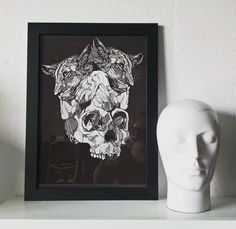 Framed Skullcub Print - Original artwork by Luke Dixon Brown Wood, Black Wood, How To Make Brown, Original Artwork, Landscape, The Originals, Portrait, Frame