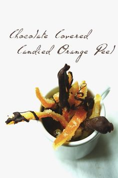 Perfect for citrus season-Chocolate-Covered Candied Orange Peel from Acquired Life. Yummy Treats, Delicious Desserts, Sweet Treats, Dessert Recipes, Chocolate Orange, Melted Chocolate, Chocolate Box, Chocolate Desserts, Candied Orange Peel