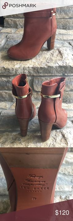 Ted Baker Reder Boots! Very rare!  Only worn once!  Fabulous Ted Baker ankle boots with gold embellishments. US 8. Ted Baker Shoes Ankle Boots & Booties