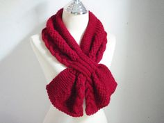 Cherry Red knitting scarf cowl by NRWhandmade on Etsy, $39.00