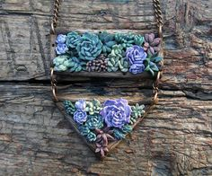 Succulent pendant polymer clay jewelry summer gift by sofoxyclay