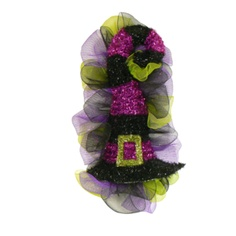 Abracadabra Hat Mesh Halloween Door Wreath