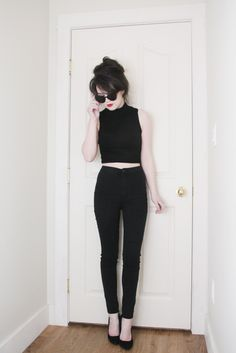 black skinny jeans with a black crop top