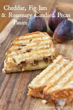 Sharp Cheddar, Fig Jam and Rosemary Candied Pecan Panini from Chan Chan Strahs Grilled Sandwich, Soup And Sandwich, Healthy Sandwiches, Wrap Sandwiches, Wine Recipes, Cooking Recipes, Panini Recipes, Brunch, Fig Jam