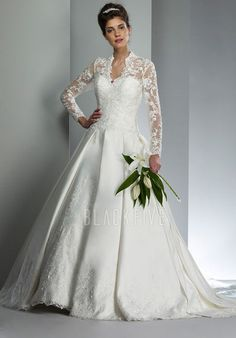 2012 Style A-line V-neck Lace Long Sleeves Court Trains Satin Wedding  Dresses For Brides 6ed6a833534d