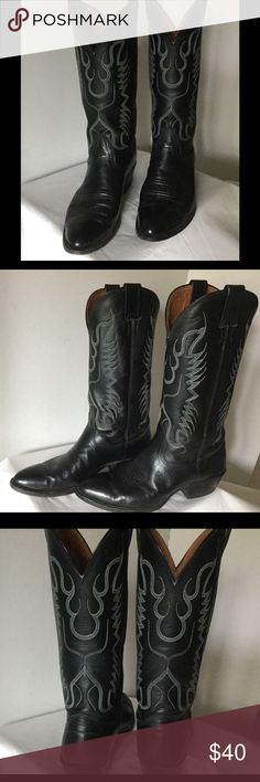 "Black Nocona Cowboy Boots Broken in, but not worn out. These are a comfortable pair of  men's size 7 1/2 D or a ladies size 9 leather cowboy boot by Nocona. With a 2"" stacked heel, 11"" shaft and 14"" circumference. You can't go wrong with a pair of black Nocona's and pair of boot cut jeans! Price is reasonable and firm. Nocona Shoes Cowboy & Western Boots"
