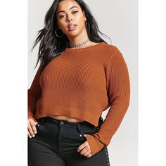 Forever21 Plus Size Chunky Knit Sweater ($14) ❤ liked on Polyvore featuring tops, sweaters, amber, extra long sleeve sweater, boxy tops, forever 21, brown sweater and long sleeve cotton tops
