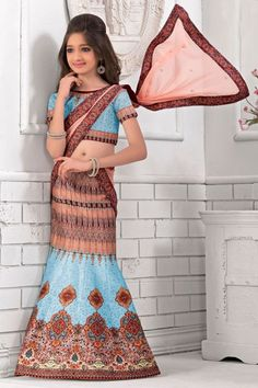Blue and Blush Pink Digital Printed Silk Fabric Party Wear Lehenga Choli  #blue #pink #kids #baby_lehenga #lehengacholi #saptrangi #indian_collection