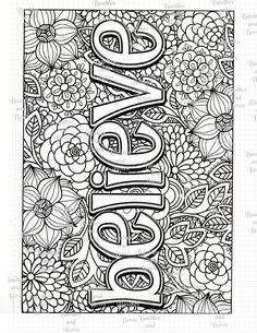 Believe Printable Adult Coloring Page Digital by SewLacee on Etsy