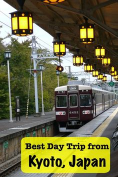 The best day trip from Kyoto, Japan is reached by this lantern lit train station in Arashiyama. the real japan, real japan, resources, tips, tricks, inspiration, idea, guide, japan, japanese, explore, adventure, tour, trip, product, tool, map, information, tourist, plan, planning, tools, kit, products http://www.therealjapan.com/subscribe