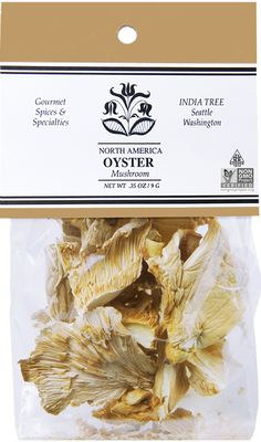INDIA TREE OYSTER MUSHROOMS  The oyster mushroom grows in colonies on dying, dead or rotten trunks of beech, ash, and other trees. This elegant mushroom, with both the appearance and a slight flavor of the oyster, may be used in most dishes requiring mushrooms. Dried Mushrooms, Stuffed Mushrooms, Spices Packaging, Specialty Foods, Oysters, Plant Based, Trunks, India, Dishes